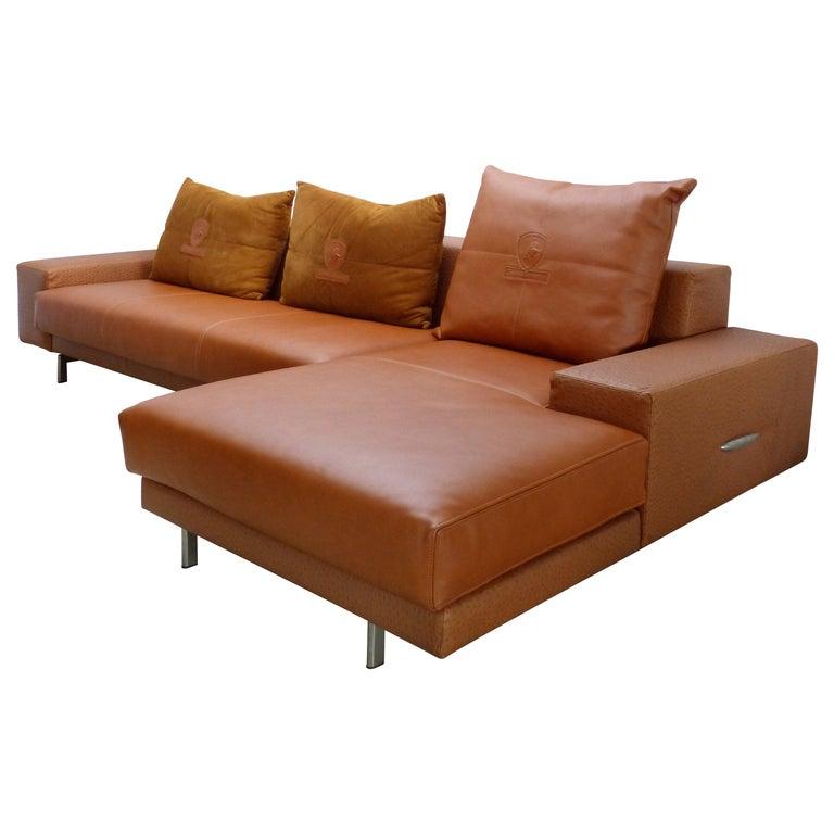 Lamborghini Furniture: Tonino Lamborghini Sectional Leather Sofa In Camel Color