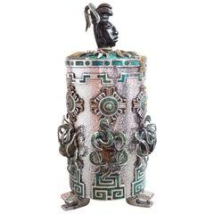 Tono Mexican Aztec Maya Motif Precious Stone Silver Tea Caddy Box