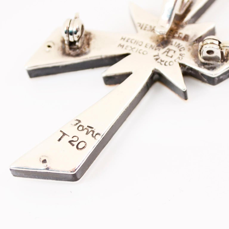 Tono Piedra Negra Mixed Metal Sterling Silver Modernist Cross Pendant or Brooch For Sale 6