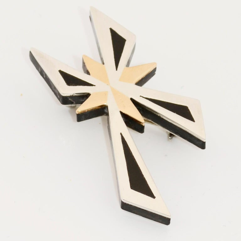Tono Piedra Negra Mixed Metal Sterling Silver Modernist Cross Pendant or Brooch For Sale 8