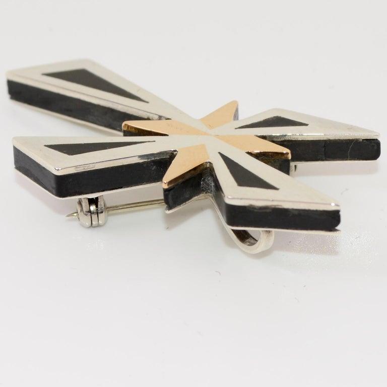 Women's or Men's Tono Piedra Negra Mixed Metal Sterling Silver Modernist Cross Pendant or Brooch For Sale