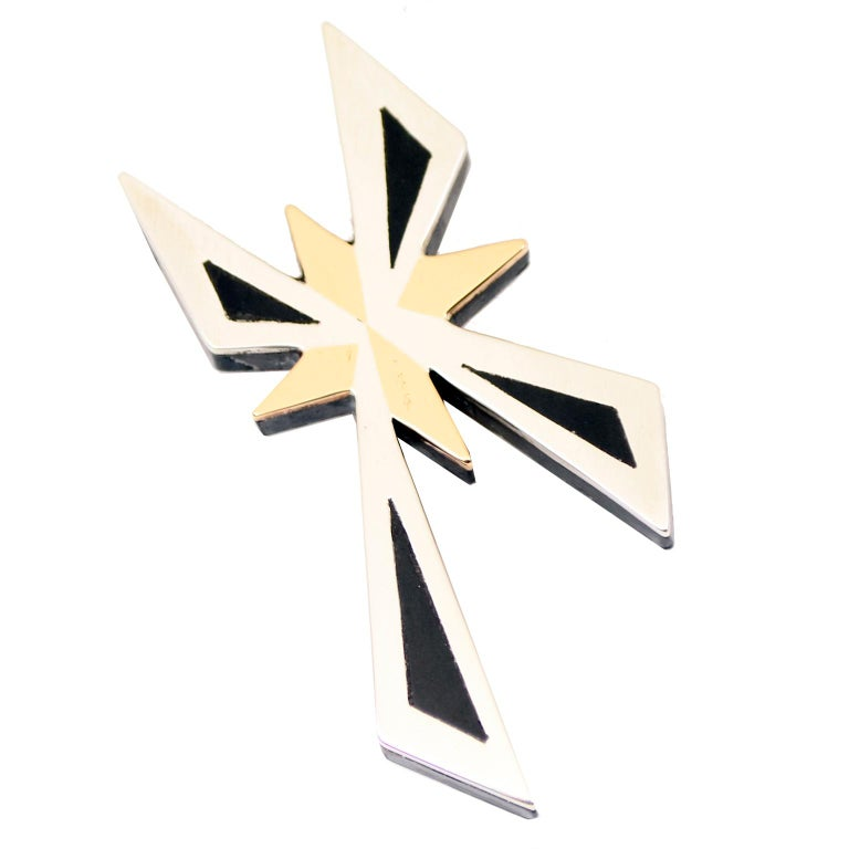 Tono Piedra Negra Mixed Metal Sterling Silver Modernist Cross Pendant or Brooch For Sale 2