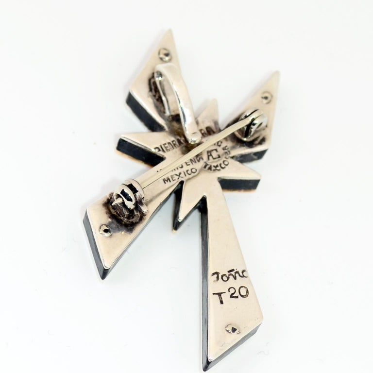 Tono Piedra Negra Mixed Metal Sterling Silver Modernist Cross Pendant or Brooch For Sale 4