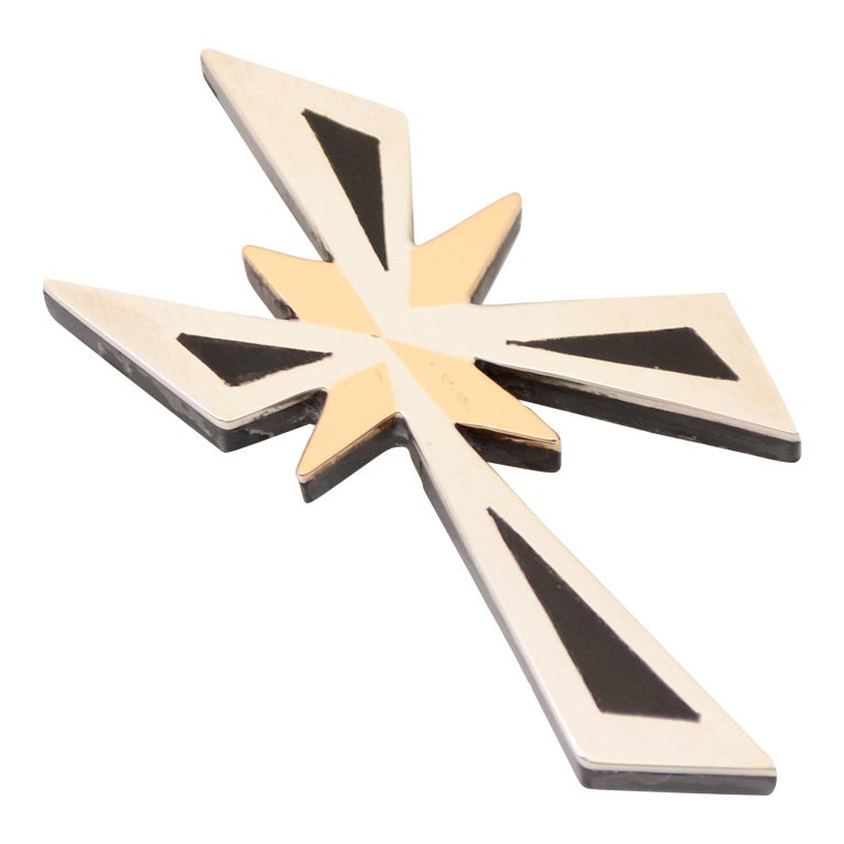 Tono Piedra Negra Mixed Metal Sterling Silver Modernist Cross Pendant or Brooch For Sale
