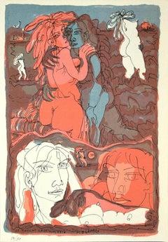 Girls - Etching on Paper by Tono Zancanaro - 1973
