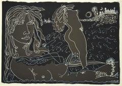 Girls - Original Etching by Tono Zancanaro - 1972