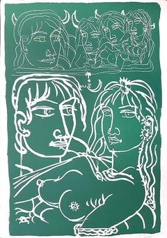 Lovers - Original Lithograph by T. Zancanaro - 1981