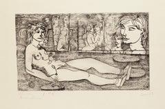 Narcissus - Original Etching by Tono Zancanaro - 1962