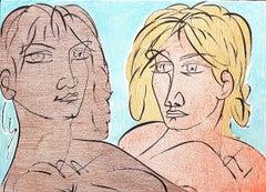 Paolo and Francesca - Original Lithograph by T. Zancanaro - 1981