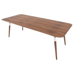 Tonon Italian Designer Table, Salt and Pepper, American Walnut, Stainless Steel