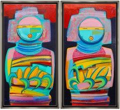 Tony Abeyta 2 Large Original Acrylic Painting On Canvas Signed Kachina Artwork