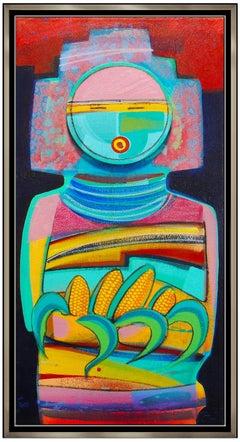 Tony Abeyta Acrylic Painting On Canvas Large Signed Kachina Native American Art