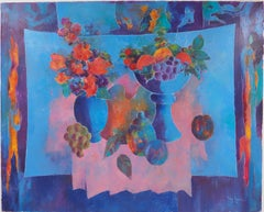 Fruits and Flowers on Blue Backgroung - Original Oil on canvas, Handsigned