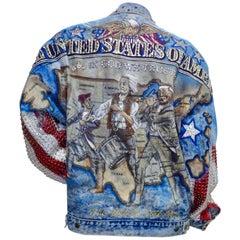 """Tony Alamo """"United States of America"""" Rhinestone Embellished Jean Jacket"""