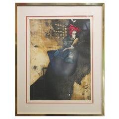 """""""Bucket Rider VI"""" Contemporary Figurative Lithograph of a Woman"""