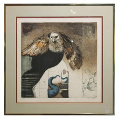"""""""IV"""" Contemporary Figurative Owl Lithograph, Edition 39 of 50"""