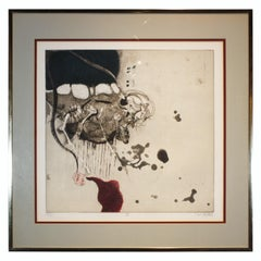 """""""V"""" Contemporary Abstract Surrealist Lithograph, Edition 39 of 50"""
