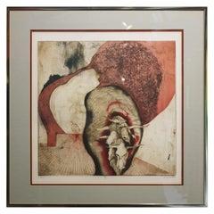 """VI"" Contemporary Deer Skulls Lithograph, Edition 30 of 50"