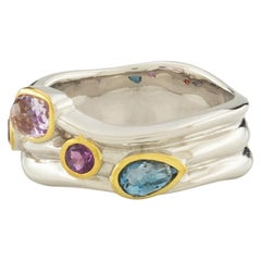 Tony Cocktail Ring 18k White Gold and Yellow Gold with Amethyst, Topaz, Garnet
