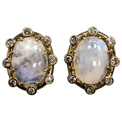 Tony Duquette 18 Karat Gold Moonstone and Diamond Large Ear Clips