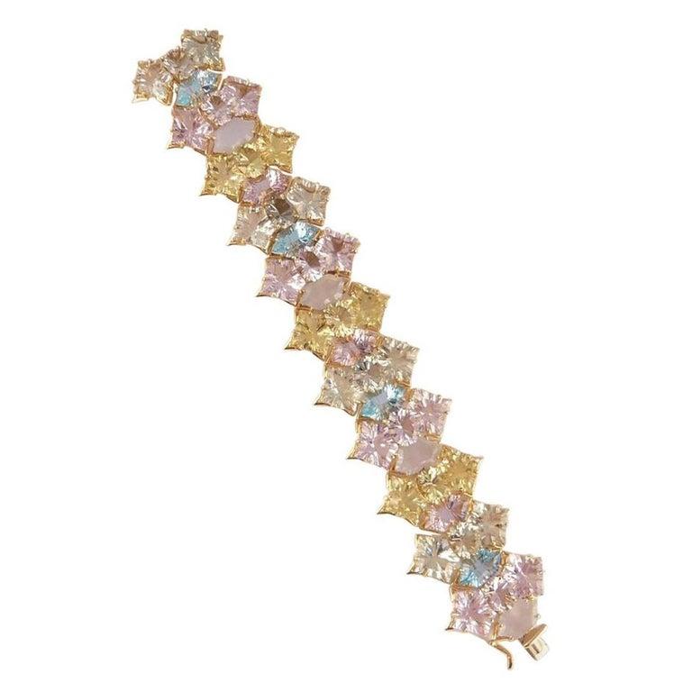 Tony Duquette Amethyst Lemon Quartz Topaz Chalcedony Statement Gold Bracelet In New Condition For Sale In Montreal, QC