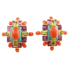 Tony Duquette Coral Turquoise Amethyst and Peridot Gold Statement Clip Earrings