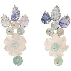 Tony Duquette Crystal Flower Sapphire Diamond Emerald Aquamarine Gold Earrings