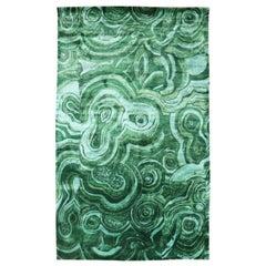 Tony Duquette Emerald Green Malachite Modern Silk Rug