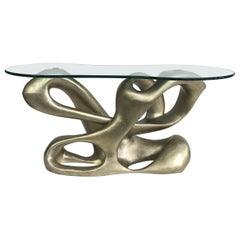 Tony Duquette for Baker Biomorphic Console, Silver Leaf Finish