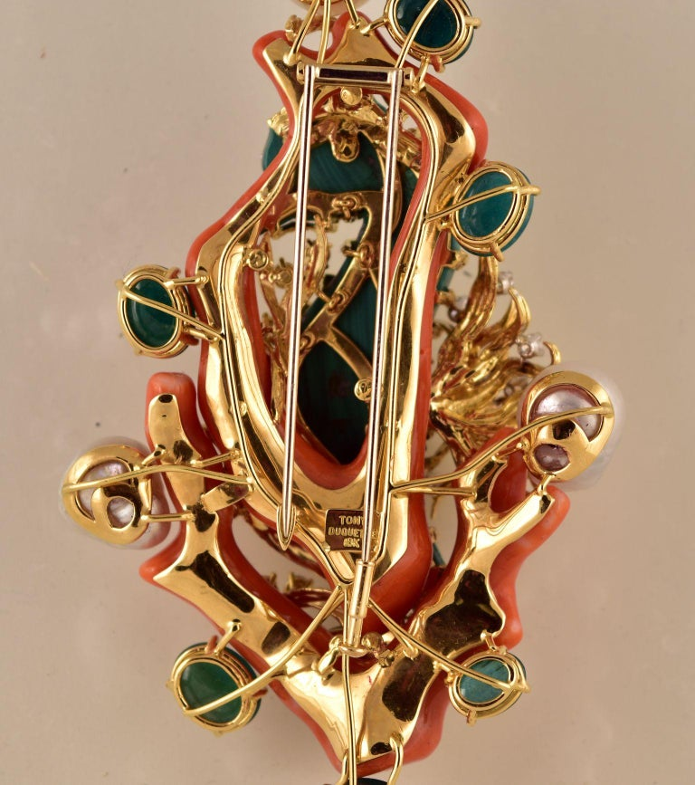 Artisan Tony Duquette Malachite Seahorse and Coral Pearl Emerald Diamond Gold Brooch Pin For Sale