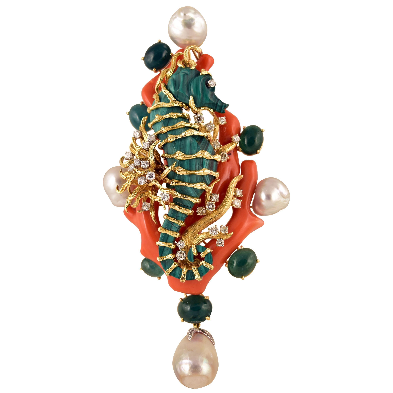 Tony Duquette Malachite Seahorse and Coral Pearl Emerald Diamond Gold Brooch Pin
