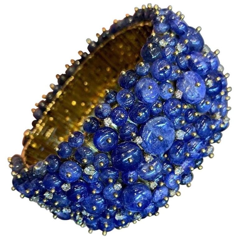 Tony Duquette Sapphire and Diamond Bead Bracelet For Sale