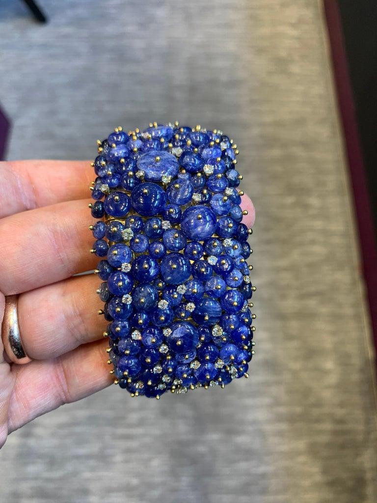 Round Cut Tony Duquette Sapphire and Diamond Bead Bracelet For Sale