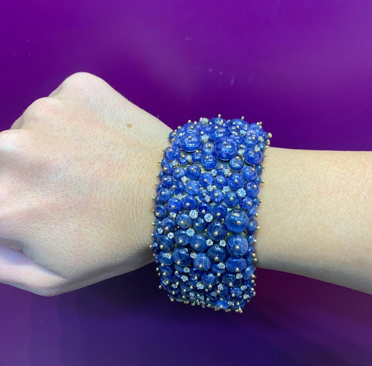 Tony Duquette Sapphire and Diamond Bead Bracelet In Excellent Condition For Sale In New York, NY