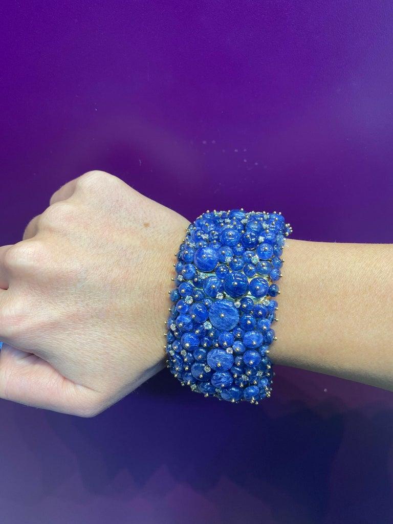 Tony Duquette Sapphire and Diamond Bead Bracelet For Sale 3