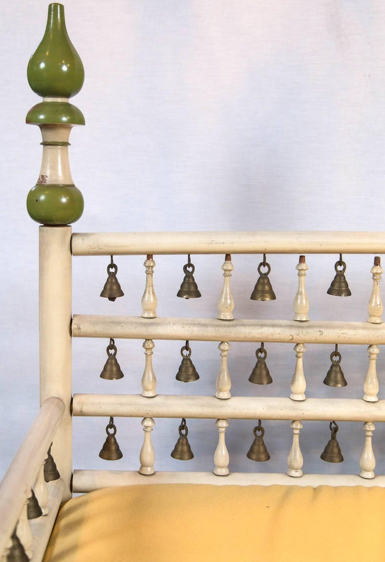 Tony Duquette style Anglo Indian Bench with Bells In Good Condition For Sale In Stamford, CT