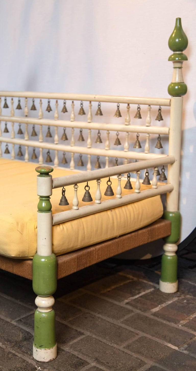 Tony Duquette style Anglo Indian Bench with Bells For Sale 1