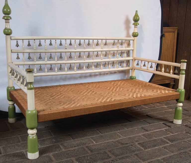 Tony Duquette style Anglo Indian Bench with Bells For Sale 2