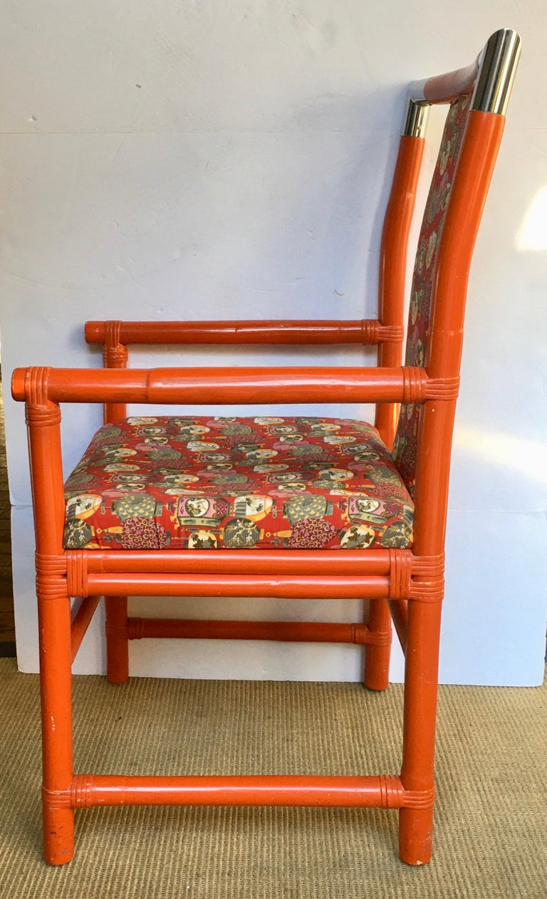 Mid-Century Modern Tony Duquette Style Chinoiserie Asian Bamboo Wood and Chrome Armchair, 1970s For Sale