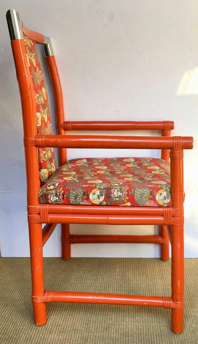 Tony Duquette Style Chinoiserie Asian Bamboo Wood and Chrome Armchair, 1970s In Good Condition For Sale In Lambertville, NJ