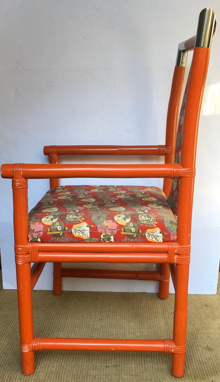 Tony Duquette Style Chinoiserie Asian Bamboo Wood and Chrome Armchair, 1970s For Sale 1
