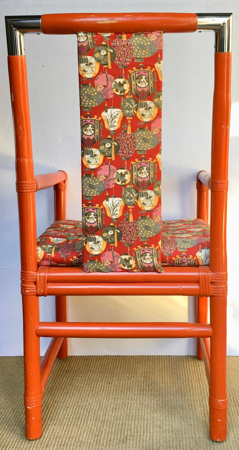Late 20th Century Tony Duquette Style Chinoiserie Asian Bamboo Wood and Chrome Armchair, 1970s For Sale