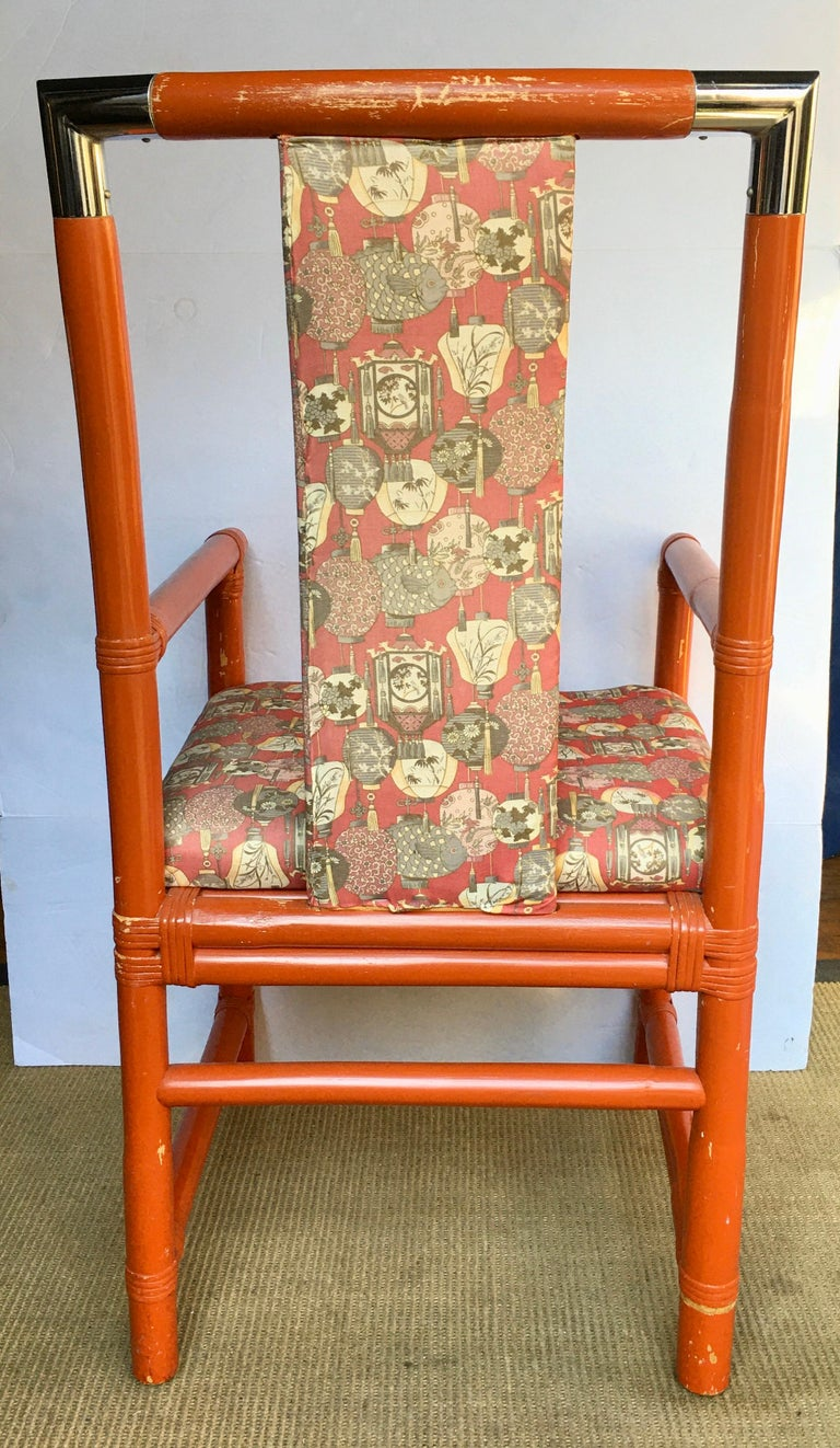 Tony Duquette Style Chinoiserie Asian Bamboo Wood and Chrome Armchair, 1970s For Sale 2