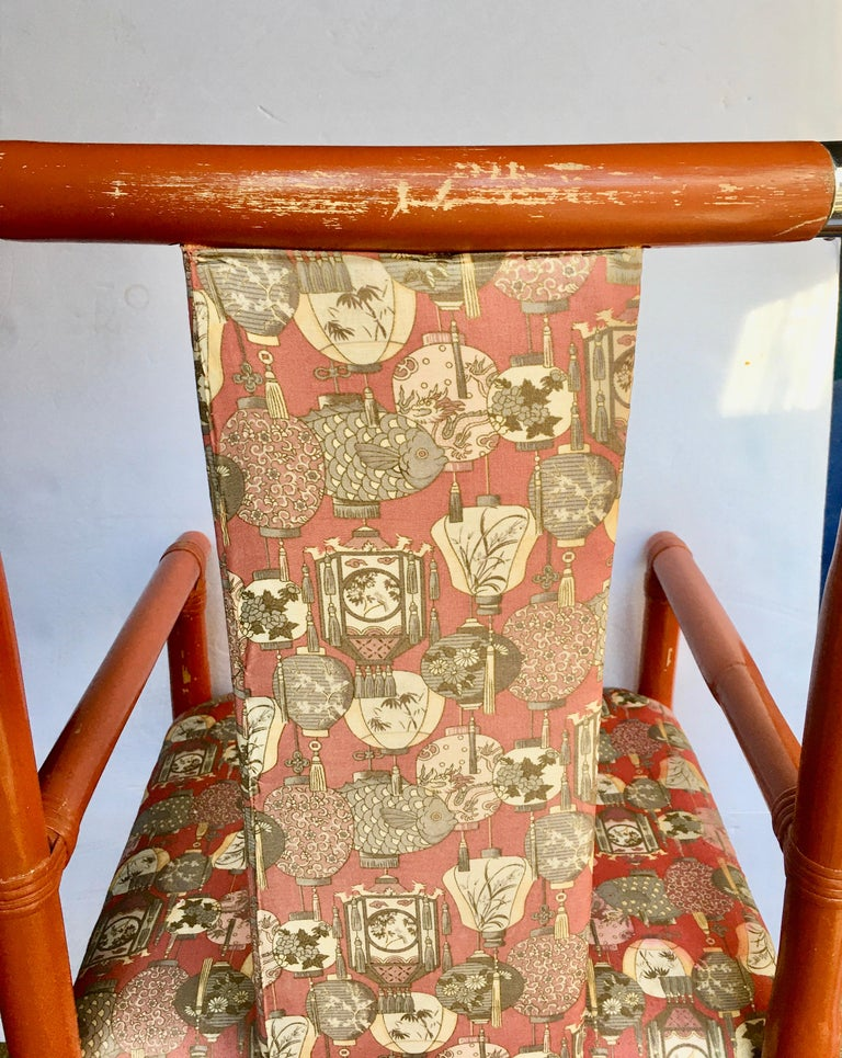 Tony Duquette Style Chinoiserie Asian Bamboo Wood and Chrome Armchair, 1970s For Sale 5