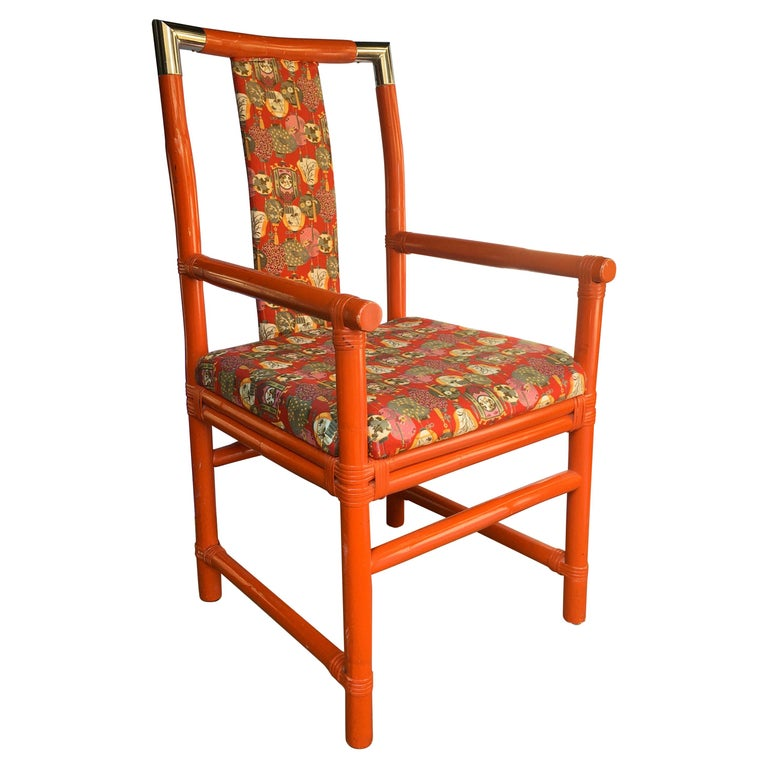 Tony Duquette Style Chinoiserie Asian Bamboo Wood and Chrome Armchair, 1970s For Sale