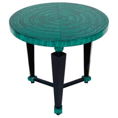 Tony Duquette Style Faux Malachite and Ebonized Guéridon or Side Table