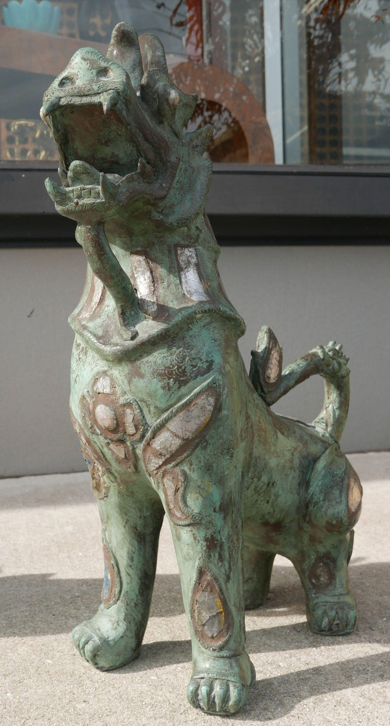 Patinated Tony Duquette Style Thai Bronze Foo Dogs Inset with Antique Mirrors and Agate