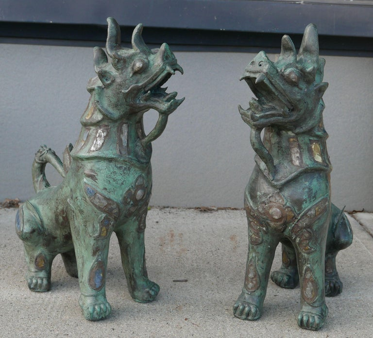 19th Century Tony Duquette Style Thai Bronze Foo Dogs Inset with Antique Mirrors and Agate