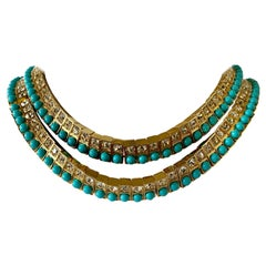 Tony Duquette Turquoise and Diamanté  Necklace