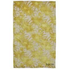 Tony Duquette Yellow Sunburst Modern Wool Silk Rug
